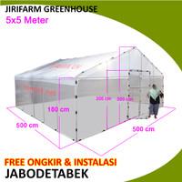 Jirifarm GREEN HOUSE ukuran 5X5 meter KNOCK DOWN Rangka Pipa Besi