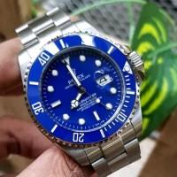 Jam Tangan Pria Merk Rolex Submariner Silver Blue Automatic Premium Be