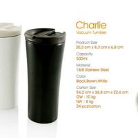 [HITAM] Charlie Vacuum Tumbler / Termos Mug Double Wall Cup 500ml