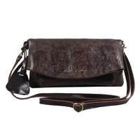 Sling and Clutch Pullup Julia Dark Brown Motif - Kenes Leather