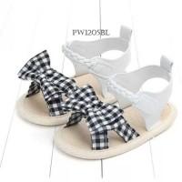 PW39 - prewalker sepatu sandal pita kotak hitam bayi baby cewek girl