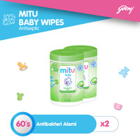 Mitu Baby Wipes Antiseptic Oval Bottle 60S - 2pcs