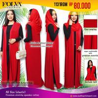 Gamis Baju Muslim Dress Kardigan Merah 1131RGM by Folva Kimochi Me