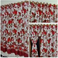 tirai gorden korden kain disperse motif bunga natural murah