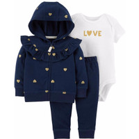 CARTER'S Set Jacket Bodysuit & Pants - Jumper Set 3 in 1 (WHITE LOVE)