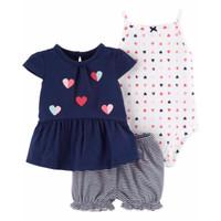 CARTER'S Girl 3-Piece Tee Bodysuit & Short Set (LOVES)