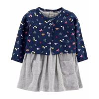 CARTER'S 2-Piece Bodysuit Dress & Cardigan Set (GRAY BUTTERFLY)