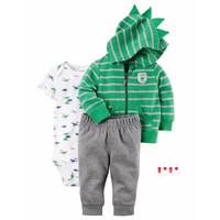 CARTER'S Set Jacket Bodysuit & Pants - Jumper Set 3 in 1 (GREEN DINO)