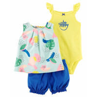 CARTER'S Girl 3-Piece Tee Bodysuit & Short Set (HAPPY)