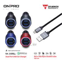 Bundling ONPRO Car Charger Quick Charge 3.0 + Kabel Nylon Micro USB