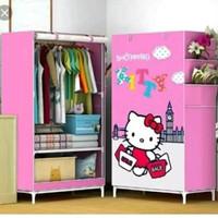 JN Lemari Pakaian Dusk Cover Motif Hello Kitty Storage Wardrobe