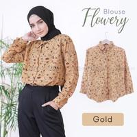 baju atasan wanita Blouse Flowery - Broken White original [GSTORE]