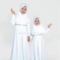 Baju muslim/gamis anak perempuan warna putih untuk manasik Premium
