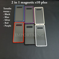 Samsung s10 Plus Premium 2 in 1 magnetic phone case -Transparant