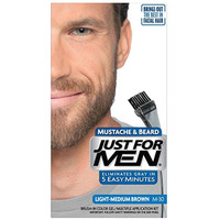 Just For Men Mustache & Beard Brush-In Color Gel, Light-Medium Brown