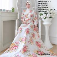 Maxi Resti 3 Putih Baju Muslim Wanita Gamis Model Kekinian Terbaru