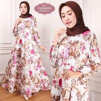Maxi Emma (121) Bunga Baju Muslim Wanita Gamis Model Kekinian Terbaru