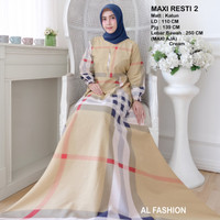 Maxi Resti 2 Cream Baju Muslim Wanita Gamis Model Kekinian Terbaru