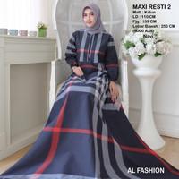 Maxi Resti 2 Bunga Baju Muslim Wanita Gamis Model Kekinian Terbaru