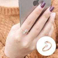 Cincin Fashion Korea Ring Double Diamond Rose Gold AG5059