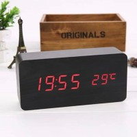 Jam Meja Digital LED Alarm Clock Wood With Temperatur and Date