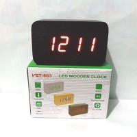 Jam Meja Digital Led Weker 863 Digital Wood Alarm