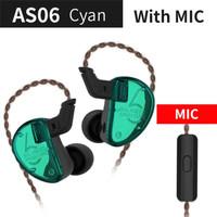 Knowledge Zenith KZ AS06 HiFi In Ear Earphones With Mic - Cyan