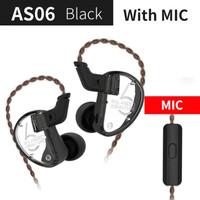 Knowledge Zenith KZ AS06 HiFi In Ear Earphones With Mic - Black