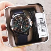 Jam Tangan Pria Merk Fossil Type FS 5061 Plus gelang dan Tin box ori