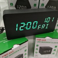 Jam Meja Digital Led Weker Alarm Clock 862 Digital Wood