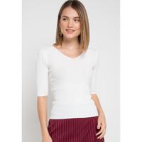 Mineola Top V Neck Classic Knit White - 11904127FW