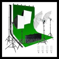 Perlengkapan Lighting Studio Dengan Stand/Tiang Background - Putih