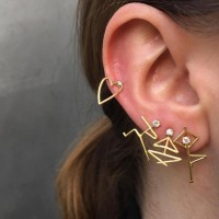 Trendy Heart Earring Set Human Gesture Figure Cartilage Earrings