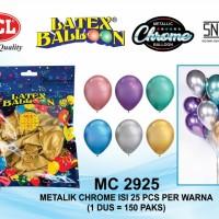 Balon Metalik Chrome 12 inch 1 Warna Isi 25