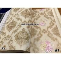 Wallpaper Dinding Klasik Gold Silver Mewah Damask