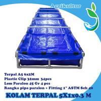 Kolam Terpal ukuran 500x100x30 cm kolam bibit / kolam floating raft