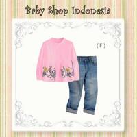 Setelan Baju Tunik Anak Lengan Panjang Softpink Flowery Celana Panjang