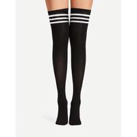 Kaos Kaki Over The Knee Socks Striped Black