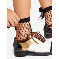 Kaos Kaki Ankle Fishnet With Bow Black