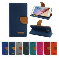 Canvas Samsung A10 / M10 - Flip Cover Denim - Wallet Flip Case Casing