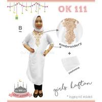 Baju Muslim Pra Remaja Kaftan Bordir Bonus Pashmina Putih CLOK111B