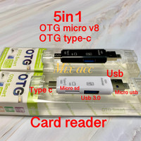 D-188 OTG MICRO USB OTG TYPE C + USB Hub 3.0 Micro sd Card Reader 5IN1