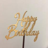 Cake topper s - Tusukan Kue Happy Birthday 1 - Gold