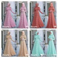 sr Anzela Mocca baju muslim wanita trendi murah M maxi brukat tebal di