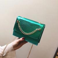 RO1 tas selempang warna hijau jamrut kristal metalik wanita import bag