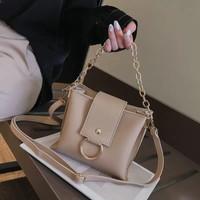 tas top handle hand bag abu coklat import wanita ala modelike miniso