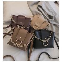 tas selempang warna coklat abu hitam wanita tali biasa imported murmer