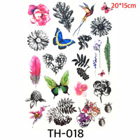 1 set Full Temporary Tattoo Etnik - Bunga FLower Butterfly Tato TH 024