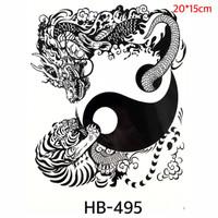 Tato Yin dan Yang - Harimau dan Naga Tato Oriental Cina Yinyang HB 495