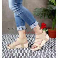 Sandal Wanita Wedges Cream SDW218